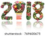2018 made of fruits and... | Shutterstock . vector #769600675