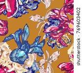 blue iris botanical vector...   Shutterstock .eps vector #769603402