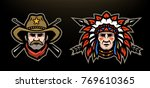 head of cowboy and indian on a... | Shutterstock .eps vector #769610365