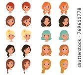 set of different girl's hair... | Shutterstock .eps vector #769611778