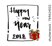 gift box and happy new year... | Shutterstock .eps vector #769614022