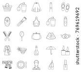 feminine icons set. outline set ... | Shutterstock .eps vector #769619692