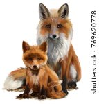 Fox Mom And Cub Watercolor...