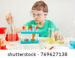 young pensive boy in safety... | Shutterstock . vector #769627138