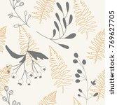 vector botanical seamless... | Shutterstock .eps vector #769627705