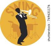 musical style. swing.... | Shutterstock .eps vector #769631176