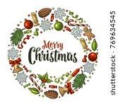 circle shape set for merry... | Shutterstock .eps vector #769634545