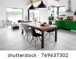 modern dining room with dining... | Shutterstock . vector #769637302