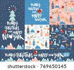 set of happy new year and merry ... | Shutterstock .eps vector #769650145