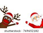 santa claus and reindeer... | Shutterstock . vector #769652182