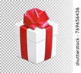 gift box with bow and ribbon. | Shutterstock .eps vector #769656436