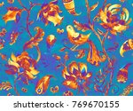 paisley watercolor floral... | Shutterstock . vector #769670155