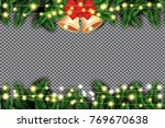 fir branch with neon lights and ... | Shutterstock .eps vector #769670638