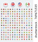 rounded world flags button with ... | Shutterstock .eps vector #769671535