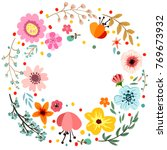 abstract flowers and herbs... | Shutterstock . vector #769673932