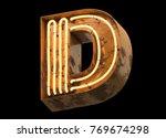 metallic orange neon font...   Shutterstock . vector #769674298