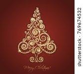 vector merry christmas retro... | Shutterstock .eps vector #769674532