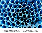 blue pvc tubes in storage ... | Shutterstock . vector #769686826
