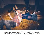 group of friends having fun on... | Shutterstock . vector #769690246