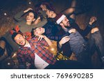 group of friends having fun on... | Shutterstock . vector #769690285