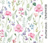watercolor floral pattern ... | Shutterstock . vector #769694458