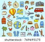 travel set  adventure or... | Shutterstock .eps vector #769695175