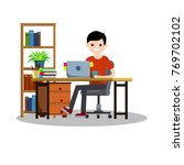 young guy student sitting on a... | Shutterstock .eps vector #769702102