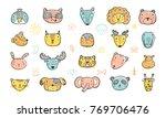 Stock vector cute animal faces set hand drawn doodle cartoon animals and birds vector illustration 769706476