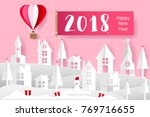 origami balloon and heart on...   Shutterstock .eps vector #769716655