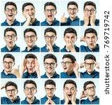 mosaic of man expressing...   Shutterstock . vector #769719742