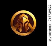 spartan helmet logo with shield ...   Shutterstock .eps vector #769729822