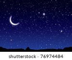 space landscape with silhouette ... | Shutterstock .eps vector #76974484
