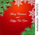 christmas background with fir...   Shutterstock .eps vector #769767172