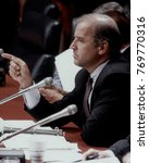 Small photo of Washington, DC. USA, 3rd, September, 1990 Senator Joe Biden chairs the Senate Judicary Committee during the Justice Souter confirmation hearings.