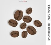 roasted coffee beans isolated... | Shutterstock .eps vector #769770466