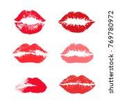 set of reds lipstick kiss.... | Shutterstock .eps vector #769780972