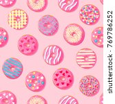 donut seamless pattern. pink... | Shutterstock .eps vector #769786252