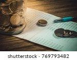 accountant verify the saving...   Shutterstock . vector #769793482