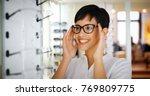 beautiful woman with optician...   Shutterstock . vector #769809775