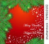 christmas background with fir...   Shutterstock .eps vector #769810102