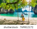 traveler asian woman in bikini... | Shutterstock . vector #769812172