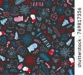 seamless christmas pattern with ... | Shutterstock .eps vector #769817356