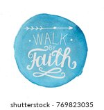 Small photo of Hand lettering Walk by faith. Biblical background. Christian poster. Vintage. Card