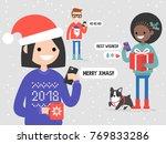 a group of millennial friends... | Shutterstock .eps vector #769833286
