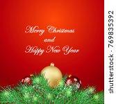 christmas background with fir...   Shutterstock .eps vector #769835392