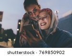 two young women outdoors in the ... | Shutterstock . vector #769850902