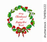 christmas wreath of red... | Shutterstock .eps vector #769856122