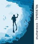 diver with underwater wildlife  ... | Shutterstock .eps vector #769858786