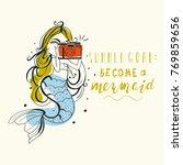Hand Drawn Mermaid With Vintag...