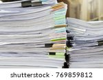 close up of business papers... | Shutterstock . vector #769859812